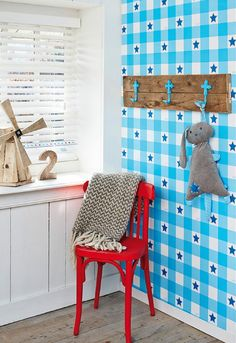 Newest Lief! Lifestyle Wallpaper Collection! Hip Lief Lifestyle Boys Wallpaper Star Checker for the Nursery and Children's Room! #LiefLifestyle #Wallpaper