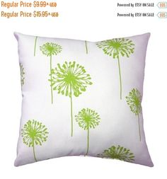 Decorative+Pillow+Cover+Green+and+White+by+ThePillowCoverStore