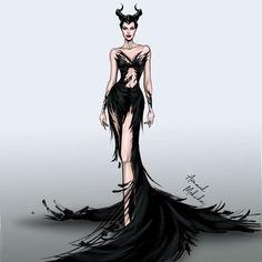 Maleficent - Mistress of Evil Maleficent Cosplay, Maleficent Movie, Malificent, Fashion Illustration Sketches, Fashion Sketches, Maleficent Drawing, Angelina Jolie Maleficent, Disney Live, Fashion Design Drawings