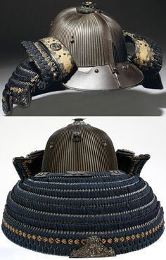 120 plate suji bachi kabuto. (ridged bowl) 1700 - 1800, 120 russet iron plates riveted vertically. Inscribed 'Joshu (modern-day Ibaraki Prefecture) Suifu ju Yoshihide Saku'. The armourer is not recorded, but was likely to be of the Myochin school, one of three main schools of armourers who worked in Joshu province. The fukigaeshi has round decoration in shakudo of stylised hollyhock leaves, the family crest of Tokugawa family, the samurai clan who ruled Japan from 1603 to 1868. V&A Museum.