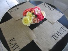 DIY Tutorial: DIY Burlap Crafts / DIY Burlap Stenciled Placemats - Bead