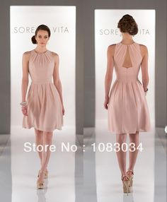 Free Shipping Pretty Girl Blush Color Halter Short Bridesmaid Dress with Pleats A-line Knee-length Halter Party Dress134046 US $89.00