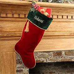 Velvet Splendor Christmas Stocking - Deep Red