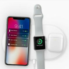 This is the new AirPower mat, an Apple-designed wireless charging mat. It will be able to charge your iPhone, Apple Watch and AirPods at the same time. The AirPower mat is coming in 2018.