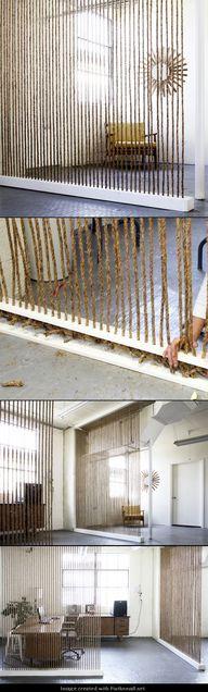 Separacion comedor sala salon modern cuerdas cortina division ambiente minimal Eco decoration easy&cheap barato DIY ROPE WALL - http://myfavoritediy.net/?p=241