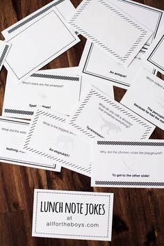 Free printable school lunch note jokes