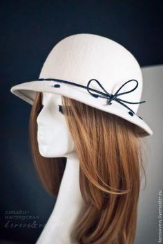 """Купить Шляпка-котелок """"Этьен"""" - белый, горошек, парижский стиль, Париж, шляпка, белая шляпа"""