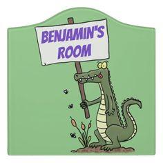 $55.76 | Funny crocodile aligator with sign cartoon #crocodile #cayman #alligator #funny #cartoon #illustration #humor #reptile #animal #cute Kids Door Signs, Foam Adhesive, Dry Erase Board, Room Signs, Acrylic Material, Make Your Mark, Nursery Decor, Room Decor, Crocodile