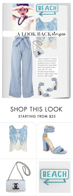 """""""a look back stripes"""" by katymill ❤ liked on Polyvore featuring Sans Souci, Gianvito Rossi, Chanel, Topshop, stripes and BoldStripes"""