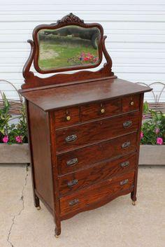 Antique Oak Gentlemans High Boy Chest Dresser Beveled Mirror 7dovetailed Drawers