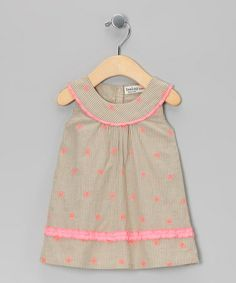 Another great find on #zulily! Beige & Pink Butterfly Yoke Dress - Infant & Toddler #zulilyfinds
