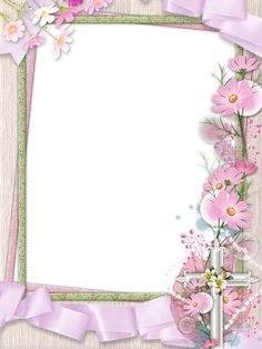 pink png photo frame with cross and flowers