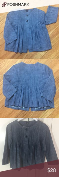 GAP Chambray Jacket with Back Peplum Detail Size S Has pockets and 2 button closure. Like new condition. Beautiful! Posh with confidence. I am a fast shipper and do bundle discounts. GAP Jackets & Coats