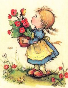 Vintage Girl with Flowers PDF Cross-Stitch Pattern | BellaStitchery - Sewing and Fabric Supplies on ArtFire