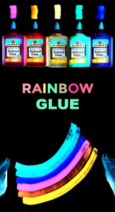 Make your own glowing rainbow glue for kids arts and crafts using this easy recipe! Glue Crafts, Diy Crafts To Sell, Diy Crafts For Kids, Art For Kids, Sell Diy, Kids Diy, Decor Crafts, Easy Art Projects, Stem Projects