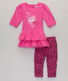 Another great find on #zulily! Fuchsia Crown Ruffle Top & Leggings - Infant #zulilyfinds