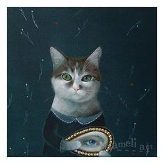 """""""I have an eye on you"""" whimsical cat painting Cat  original canvas painting illustration Acrylic by inameliart"""