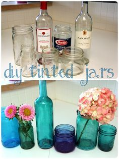 Recycle glass bottles - Mix water, glue, and food coloring, coat the inside of the glass jar, then turn it upside down to dry for 1 hr. After that, leave it out to dry for 2 days (instead of baking it)
