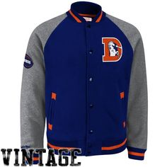 Mitchell & Ness Denver Broncos Competitor Full Button Fleece Jacket - Navy Blue/Ash