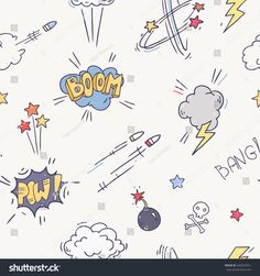 Vector comic sound effect collection seamless pattern. Bubble speech in pop art style. Retro comical book cartoon expression with texts Kids Prints, Fun Prints, Graphic Prints, Fabric Print Design, Textile Design, Comic Sound Effects, Baby Kids Wear, Cartoon Expression, Nursery Fabric