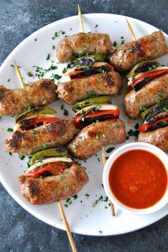 Super easy, super delicious. Classic Italian sausage skewered up with our #PomodoroFresco Sauce for dipping.