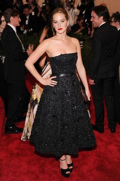 """In Christian Dior at the Met Gala debut of the """"Punk: Chaos to Couture"""" exhibit.   - ELLE.com"""