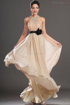 Neckholder Ärmellos Perlenbesetztes Extravagantes Langes Abendkleid mit Rosette