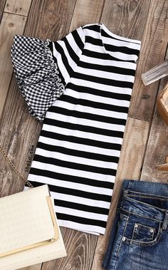 Refashion idea.....Striped T-shirt With Gingham Ruffle Sleeve