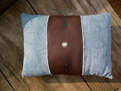 LEATHER & Recycled Denim Pillow with concho by LoveItLeather, $29.00