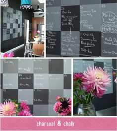 patchwork look chalk board WALL - 4 different colors of grey - nice look - could be done in any colors - it would be nice to have a wall big enough to do this on