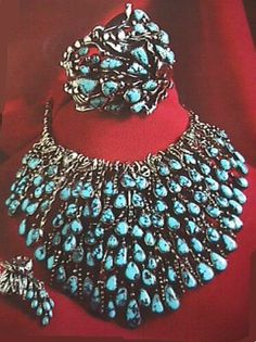 Jewellery Set   Frank Patania Sr.  Sterling silver with Burnham turquoise.  ca. 1950
