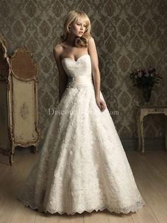 Lace Princess Sweetheart Natural Waist Floor Length Chapel Train Wedding Dress BG000305 - - US$279.99