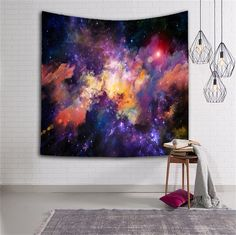 Star Cluster/Space Decor Tapestry, Outer Space Tapestry Decorations Galaxy Stars Universe Milky Way, Bedroom Living Room Dorm Wall Hanging Tapestry-Navy Purple/Berry Turquoise Red(GT01-color): Amazon.co.uk: Kitchen & Home