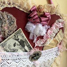 Valentine's Day hanging old pink velvet by VintageShopCreations