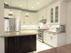 Medium sized, transitional Kitchen, white kitchen, stained island. caesarstone countertop. medium kitchen. Transitional Kitchen, Transitional Style, Medium Kitchen, Kitchen Styling, Home Kitchens, Countertops, Kitchen Cabinets, Kitchen Ideas, Kitchen White