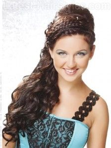 Triple Headband Braid Half Updo with Bump and Long Curls - Half Up Half Down Prom Hairstyles for 2012.   Holy ish this is gorgeous!