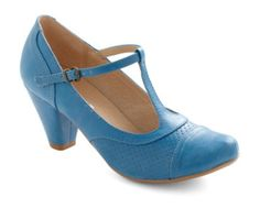 Bright blue T-strap with cone heel by Chelsea Crew. Perfect with a swingy summer skirt, and the heel is low enough for hours of window shopping downtown or browsing booths at the craft fair.