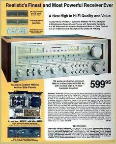 Vintage audio Realistic Ad Stereo Hi Fi (fb) Radio Vintage, Vintage Music, Vintage Cameras, Vintage Ads, Recording Equipment, Audio Equipment, Speaker Amplifier, Speakers, Radios