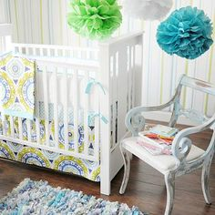 Indigo Summer Crib Bedding