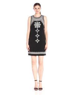 Vince Camuto Women's Sleeveless Ornate Blocks Panel Shift Dress.   Machine Wash Fully lined Back zipper