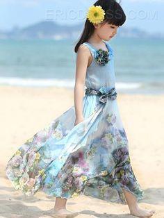 Ericdress Floral Print Bohemian Girls Dress 4