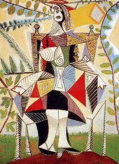 Pablo-Picasso-6femme dans Assise Un jardin
