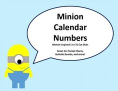 Now only $1.00! Minion inspired calendar numbers for pocket charts, bulletin boards, and more! Yellow, blue, and white mix-and-match complimentary sets.Matches Minion Months: https://www.teacherspayteachers.com/Product/Minion-Months-1952497Matches Minion Labels:https://www.teacherspayteachers.com/Product/Minion-Labels-1953118