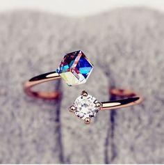 Crystal And Rhinestone Cuff Ring (Adjustable)
