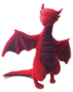 Needle Felted Red Dragon by Shelly Schwartz on www.livingfelt.com/blog