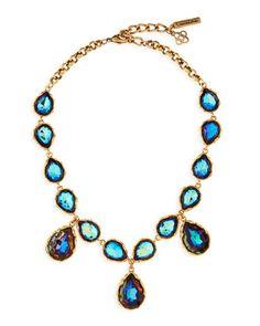 Large Crystal Teardrop Necklace, Indigo by Oscar de la Renta at Neiman Marcus.