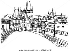 Scene street illustration. Hand drawn ink line sketch European old town Prague, Czech Republic with buildings, roofs in outline style. Ink drawing of cityscape, panorama view. Travel postcard.