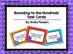 Included in this pack is 24 Task Cards (asking for students to round each number to the nearest hundred), 4 two-digit rounding number cards, 8 three-digit rounding number cards, 12 four-digit rounding number cards, 1 Recording Page, 1 Answer Key. Color and Black & White. This can be used as a Scoot game, or you can post these questions around the room and have students try to find and answer all the cards. 3.NBT.A.1, 4.NBT.A.3, 5.NBT.A.4