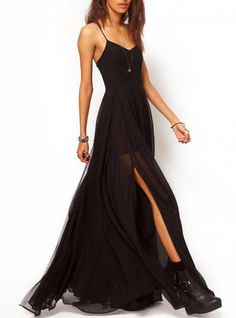 Black Suspenders Chiffon Dress