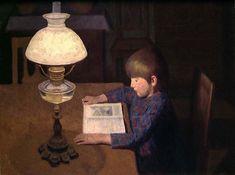 Child Reading - Sverre Ihle , Norwegian oil on canvas, x 90 cm Reading Art, Love Art, Art History, Oil On Canvas, Ceiling Lights, Books, Painting, Newspaper, Home Decor